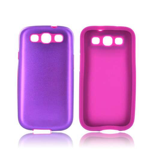 Samsung Galaxy S3 Aluminum Hard Case on Silicone - Purple Aluminum on Purple