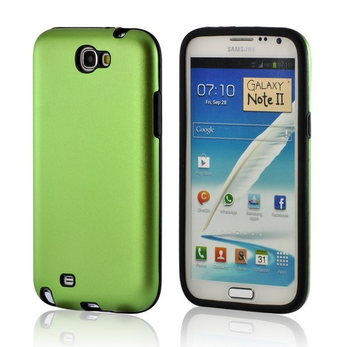 Green/ Black Aluminum Hard Case on Silicone for Samsung Galaxy Note 2