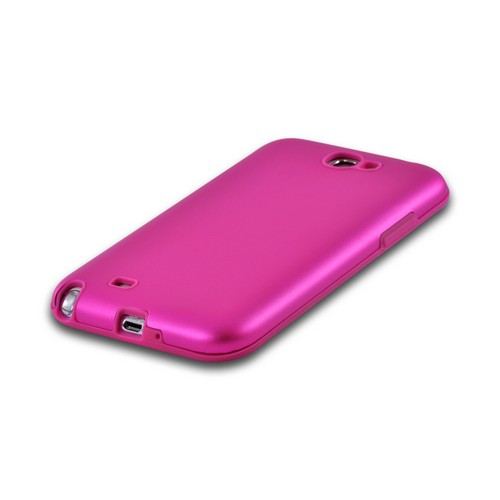 Hot Pink Aluminum Hard Case on Silicone for Samsung Galaxy Note 2