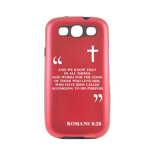 Samsung Galaxy S3 Red Aluminum Hard Case on Silicone - Romans 8:28
