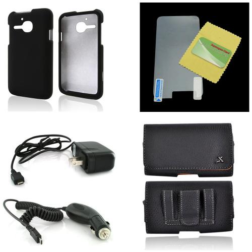 Essential Starter Bundle Package w/ Black Rubberized Hard Case, Screen Protector, Leather Pouch, Car & Travel Charger for Alcatel One Touch Evolve