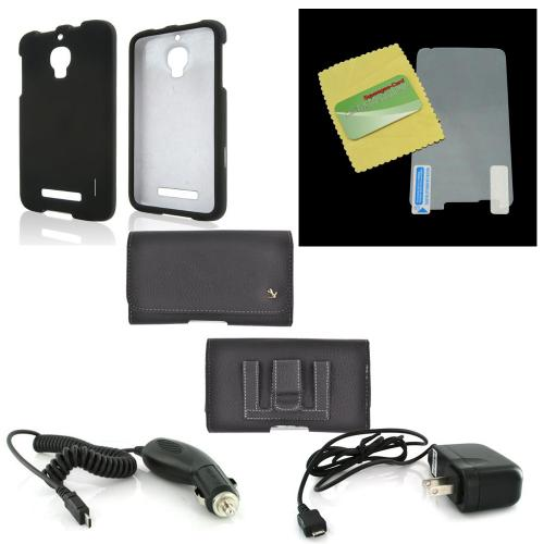 Essential Starter Bundle Package w/ Black Rubberized Hard Case, Screen Protector, Leather Pouch, Car & Travel Charger for Alcatel One Touch Fierce