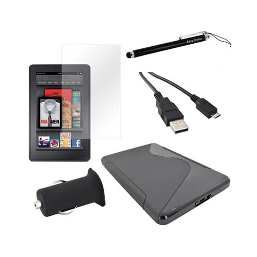 Amazon Kindle Fire Package: Black Crystal Silicone S Case, Screen Protector, Stylus Pen, Micro Usb Data Cable, & More!