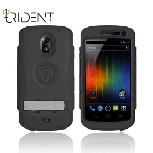 Original Trident AMS Samsung Galaxy Nexus Hard Case Over Silicone w/ Screen Protector, Kickstand, & Belt-Clip, AMS-GLNX-BK - Black