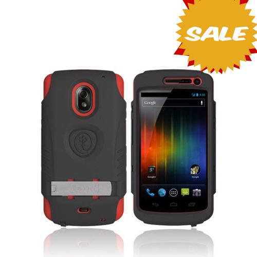 Original Trident Kraken AMS Samsung Galaxy Nexus Hard Case Over Silicone w/ Screen Protector, Kickstand & Belt-Clip, AMS-GLNX-RD - Red/ Black