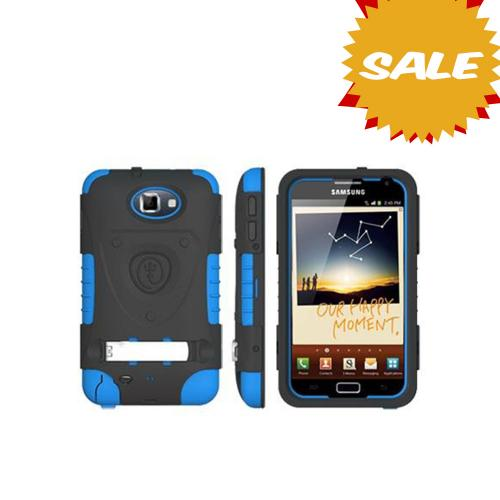 Original Trident Kraken AMS Samsung Galaxy Note Hard Case Over Silicone w/ Screen Protector, Kickstand & Belt-Clip, AMS-GNOTE-BL - Blue/ Black
