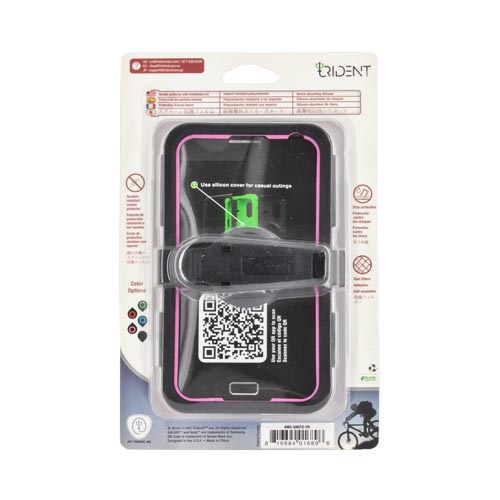 Original Trident Kraken AMS Samsung Galaxy Note Hard Case Over Silicone w/ Screen Protector, Kickstand & Belt-Clip, AMS-GNOTE-PK - Pink/ Black