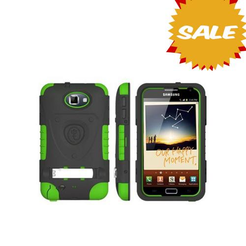 Original Trident Kraken AMS Samsung Galaxy Note Hard Case Over Silicone w/ Screen Protector, Kickstand & Belt-Clip, AMS-GNOTE-TG - Lime Green/ Black
