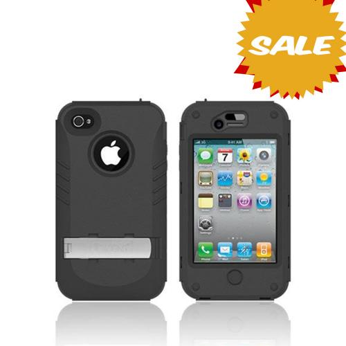 Original Trident Kraken AMS Apple iPhone 4/4S Hard Case Over Silicone w/ Screen Protector, Kickstand, & Belt-Clip, AMS-IPH4S-BK - Black