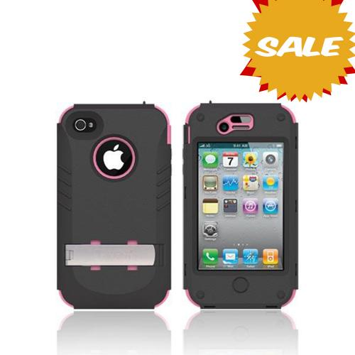 Genuine Trident Kraken Ams At&t;/ Verizon Apple Iphone 4, Iphone 4s Hard Case Over Silicone W/ Screen Protector, Kickstand, & Belt-clip - Pink/ Black