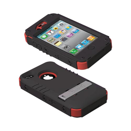 Genuine Trident Kraken Ams At&t;/ Verizon Apple Iphone 4, Iphone 4s Hard Case Over Silicone W/ Screen Protector, Kickstand, & Belt-clip- Red/ Black