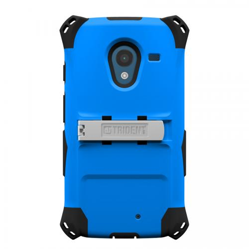 Trident Blue/ Black Kraken AMS Series Hard Case Over Silicone w/ Screen Protector, Kickstand, & Belt-Clip for Motorola Moto X (2013 1st Gen) - AMS-MOT-X-BLU