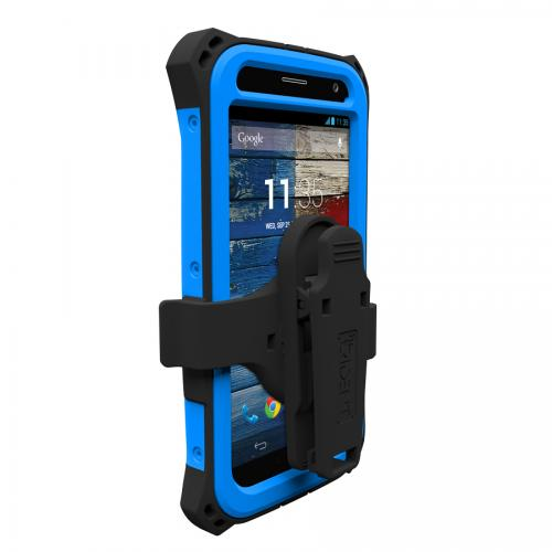 Trident Blue/ Black Kraken AMS Series Hard Case Over Silicone w/ Screen Protector, Kickstand, & Belt-Clip for Motorola Moto X - AMS-MOT-X-BLU