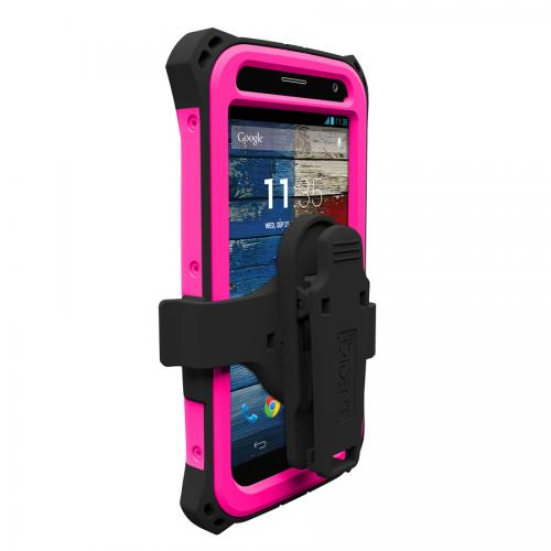 Trident Hot Pink/ Black Kraken AMS Series Hard Case Over Silicone w/ Screen Protector, Kickstand, & Belt-Clip for Motorola Moto X(2013 1st Gen) - AMS-MOT-X-PNK