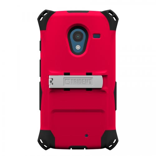 Moto X (2013) Dual Layer Case by Trident [Red/Black] Kraken AMS Polycarbonate Over Silicone Featuring Built-in Screen Protector, Kickstand & Belt-clip