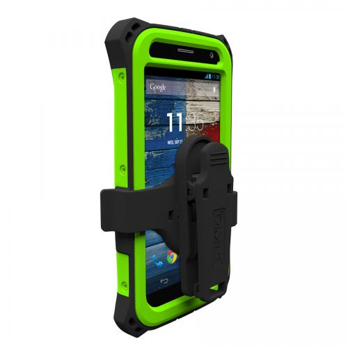 Trident Lime Green/ Black Kraken AMS Series Hard Case Over Silicone w/ Screen Protector, Kickstand, & Belt-Clip for Motorola Moto X(2013 1st Gen) - AMS-MOT-X-TG