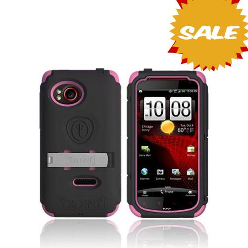 Original Trident Kraken AMS HTC Rezound Hard Case on Silicone w/ Screen Protector, Kickstand, & Belt Clip, AMS-RZND-PK - Pink/ Black