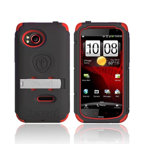 Original Trident Kraken AMS HTC Rezound Hard Case on Silicone w/ Screen Protector, Kickstand, & Belt Clip, AMS-RZND-RD - Red/ Black