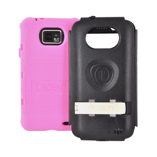 Original Trident Kraken AMS AT&T Samsung Galaxy S2 Hard Case Over Silicone w/ Screen Protector, Kickstand, & Belt-Clip, AMS-SGX2-PK - Pink/ Black
