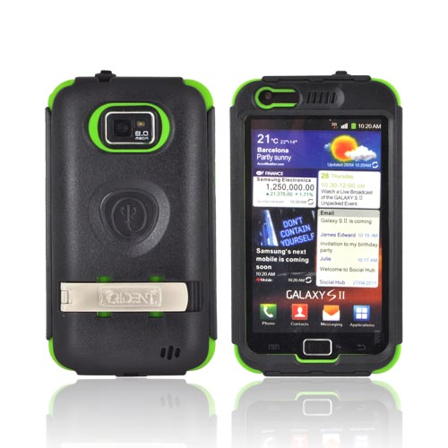 Original Trident Kraken AMS AT&T Samsung Galaxy S2 Hard Case Over Silicone w/ Screen Protector, Kickstand, & Belt-Clip, AMS-SGX2-TG - Lime Green/ Black