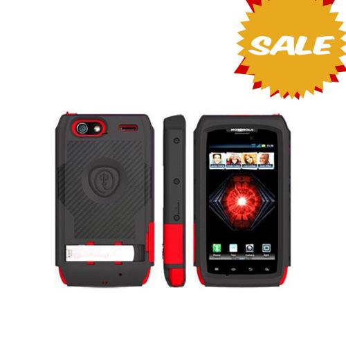 Original Trident Kraken AMS Motorola Droid RAZR MAXX Hard Case Over Silicone w/ Screen Protector, Kickstand & Belt-Clip, AMS-XT912-RD - Red/ Black
