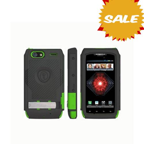 Original Trident Kraken AMS Motorola Droid RAZR MAXX Hard Case Over Silicone w/ Screen Protector, Kickstand, & Belt-Clip, AMS-XT913-TG - Lime Green/ Black