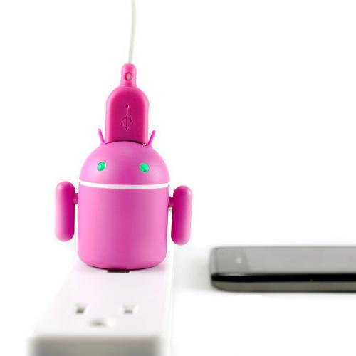 Gen Andra Hot Pink Android Robot Micro USB Cell Phone Travel Charger w/ Light Up Eyes & Moveable Arms (1A)