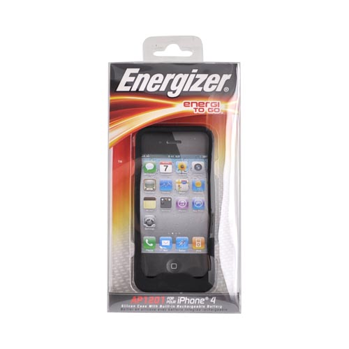 Original Energizer Apple iPhone 4 Silicone & Hard Back Charging Case w/ Cable, AP1201 - Black