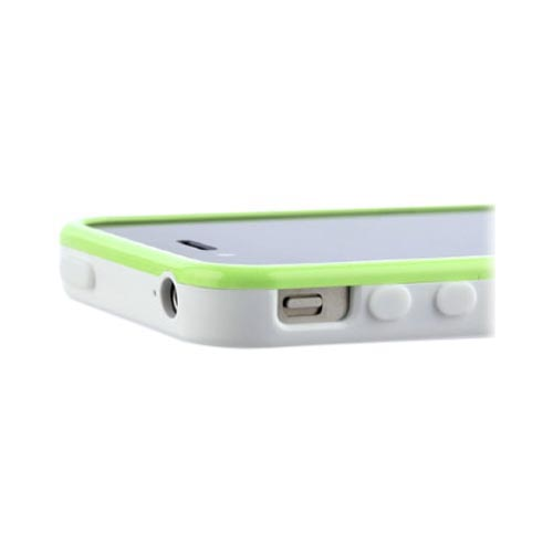 Original Zenus AT&T/ Verizon Apple iPhone 4, iPhone 4S Air Bumper Mask Hard Case w/ Screen Protector, APIP4-BB2BA-WHLM - Lime Green/ White