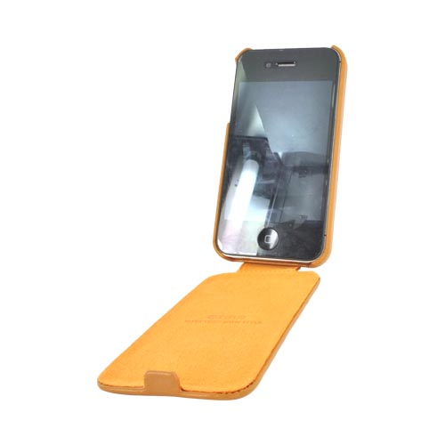 Original Zenus AT&T/ Verizon Apple iPhone 4, iPhone 4S E'stime Leather Folder Series Case, APIP4-ELLFD-CA - Camel