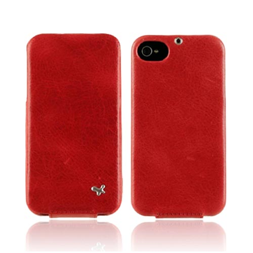 Original Zenus AT&T/ Verizon Apple iPhone 4, iPhone 4S E'stime Leather Folder Series Case, APIP4-ELLFD-RD - Royal Red