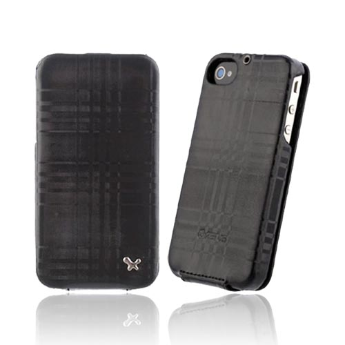 Original Zenus AT&T/ Verizon Apple iPhone 4, iPhone 4S Masstige Leather Folder Mono Check Series Case, APIP4-ML7FD-BK - Real Black Plaid