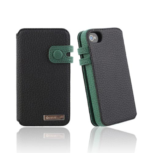 Original Zenus AT&T/ Verizon Apple iPhone 4, iPhone 4S Masstige Leather Edge Diary Series Case w/ ID Slots, APIP4-MLIDY-BK - Black/ Dark Green