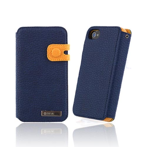 Original Zenus AT&T/ Verizon Apple iPhone 4, iPhone 4S Masstige Leather Edge Diary Series Case w/ ID Slots, APIP4-MLIDY-RN - Royal Navy Blue/ Gold Yellow