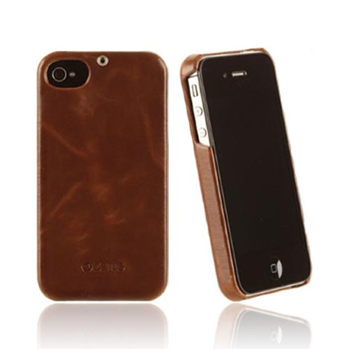 Original Zenus AT&T/ Verizon Apple iPhone 4, iPhone 4S Masstige Leather Bar Series Case, APIP4-MLLBA-BW - Brown