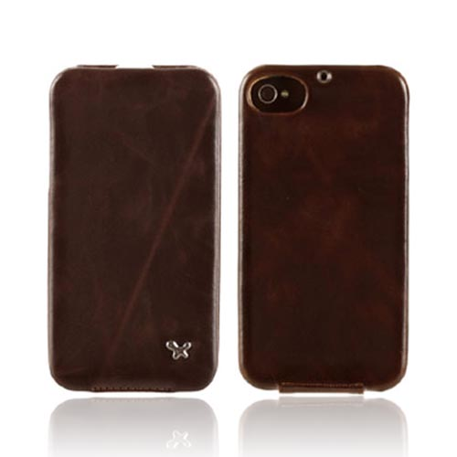Original Zenus AT&T/ Verizon Apple iPhone 4, iPhone 4S Masstige Leather Folder Series Case, APIP4-MLLFD-BC - Dark Chocolate