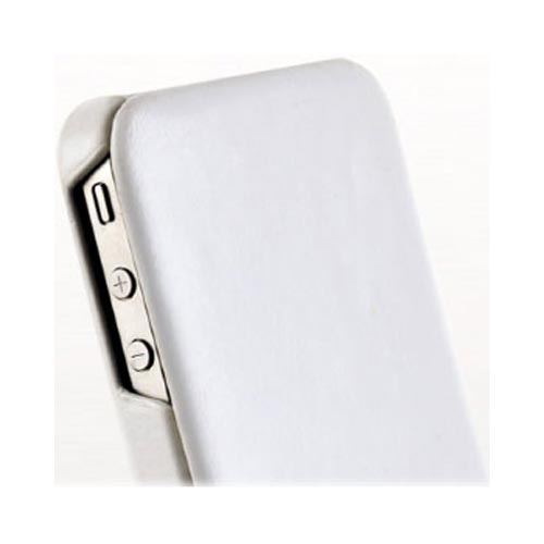 Original Zenus AT&T/ Verizon Apple iPhone 4, iPhone 4S Masstige Leather Folder Series Case, APIP4-MLLFD-WH - White