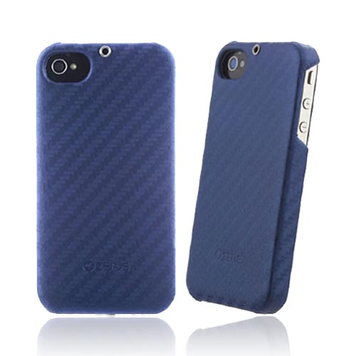 Original Zenus AT&T/ Verizon Apple iPhone 4, iPhone 4S Prestige Leather Carbon Bar Series Case, APIP4-PC5BA-BU - Real Blue