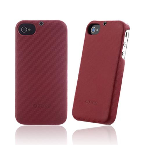 Original Zenus AT&T/ Verizon Apple iPhone 4, iPhone 4S Prestige Leather Carbon Bar Series Case, APIP4-PC5BA-CI - Cinnamon Red