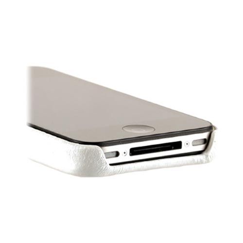 Original Zenus AT&T/ Verizon Apple iPhone 4, iPhone 4S Prestige Leather Carbon Bar Series Case, APIP4-PC5BA-WH - White