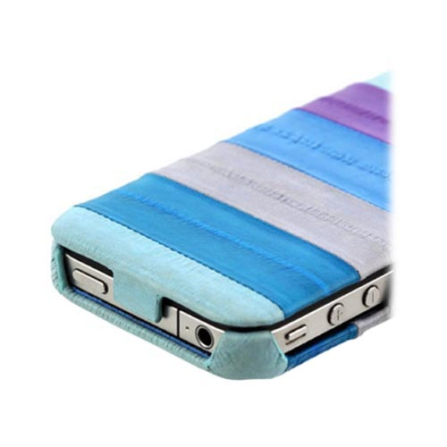 Original Zenus AT&T/ Verizon Apple iPhone 4, iPhone 4S Prestige Eel Leather Folder Series Case, APIP4-PE5FD-ASBU - Multi Blues