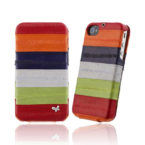 Original Zenus AT&T/ Verizon Apple iPhone 4, iPhone 4S Prestige Eel Leather Folder Series Case, APIP4-PE5FD-ASRD - Multi Reds