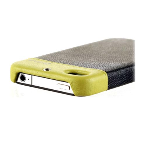 Original Zenus AT&T/ Verizon Apple iPhone 4, iPhone 4S Prestige Leather Bar Series Case, APIP4-PL5FD-BKGR - Lime Green/ Black Lizard