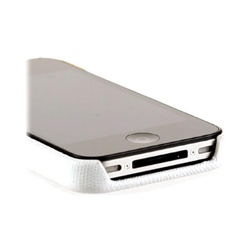 Original Zenus AT&T/ Verizon Apple iPhone 4, iPhone 4S Prestige Leather Bar Series Case, APIP4-PL5FD-WHYE - Yellow/ White Lizard