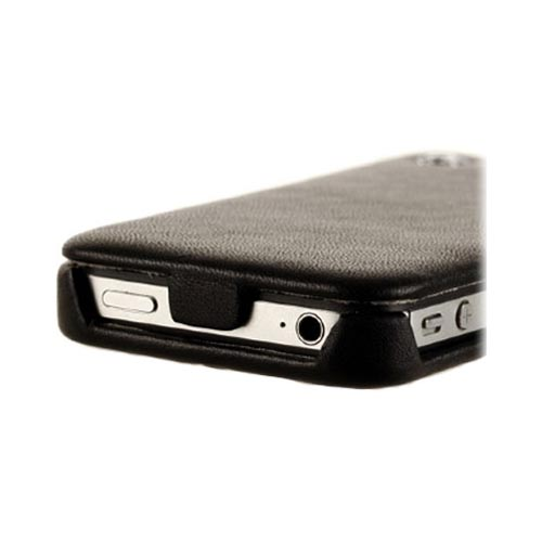 Original Zenus AT&T/ Verizon Apple iPhone 4, iPhone 4S Prestige Leather Folder Series Case, APIP4-PLLFD-BK - Black