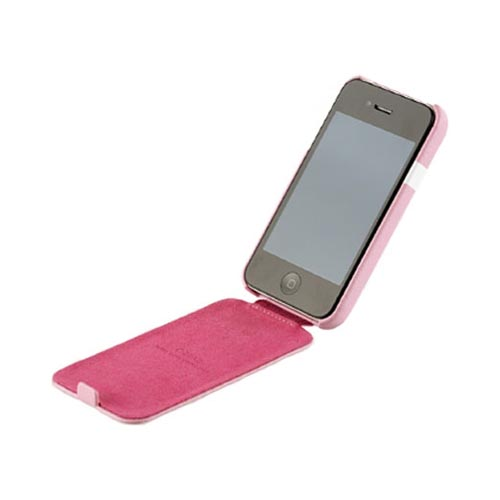 Original Zenus AT&T/ Verizon Apple iPhone 4, iPhone 4S Prestige Leather Folder Series Case, APIP4-PLLFD-PI - Baby Pink