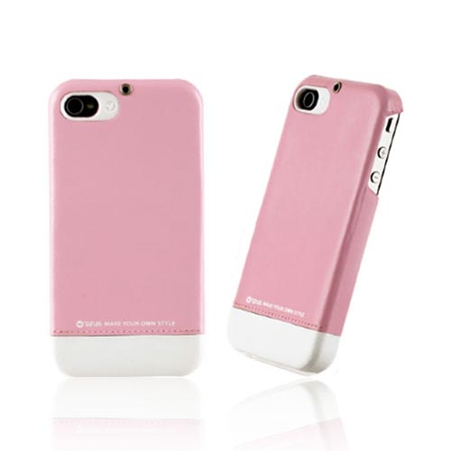 Original Zenus AT&T/ Verizon Apple iPhone 4, iPhone 4S Prestige Leather Bar Series Case, APIP4-PLLFD-PICA - Baby Pink/ White