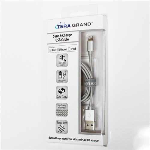TERA GRAND Apple MFi Certified Lightning Compatible Cable to USB Braided Cable [Silver] w/ Aluminum Housing (4 feet/ 1.2 m)