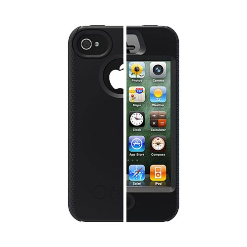 Original Otterbox Impact Series AT&T/ Verizon Apple iPhone 4, iPhone 4S Silicone Case w/ Screen Protector, APL1-I4SUN-20-EOTR - Black