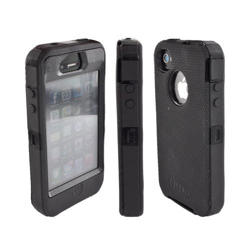 Original Otterbox Defender Series AT&T/ Verizon Apple iPhone 4, iPhone 4S Hard Case w/ Built-In Screen Protector & Holster, APL2-I4SUN-20-E4OTR - Black